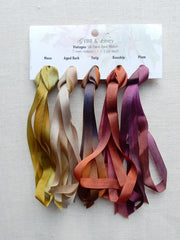 7mm Moss/Aged Bark/Twig/Rosehip/Plum- Silk Ribbon Collection