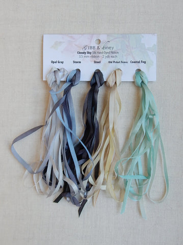 3.5 mm Opal Gray/Storm/Steel/Old Picket Fence/Coastal Fog- Silk Ribbon Collection