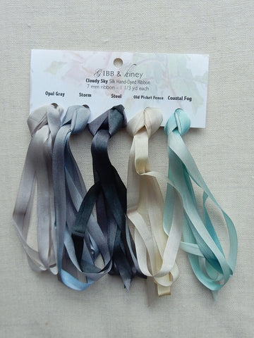 7mm Opal Gray/Storm/Steel/Old Picket Fence/Coastal Fog- Silk Ribbon Collection