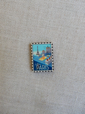 Paris stamp Button