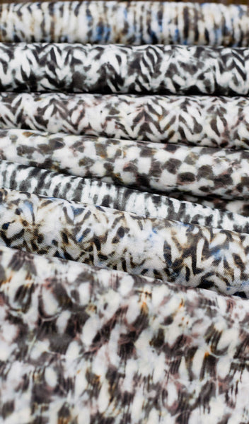 Carley Kahn upholstery fabric. All patterns and colorways side by side on bolts.