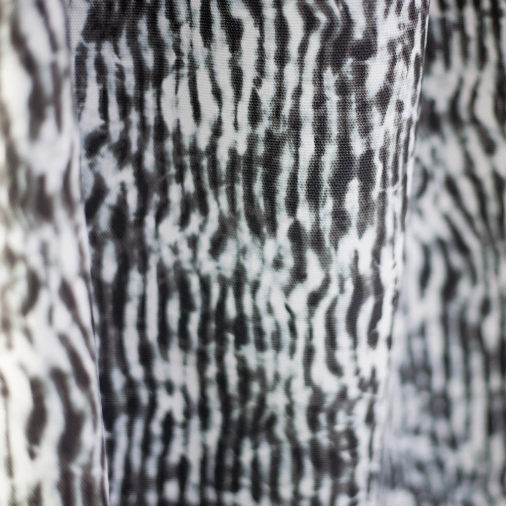 "Carley Kahn ""Stripe"" upholstery fabric. Black and white colorway."