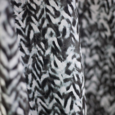 "Carley Kahn ""Chevron"" upholstery fabric. Black and white colorway."