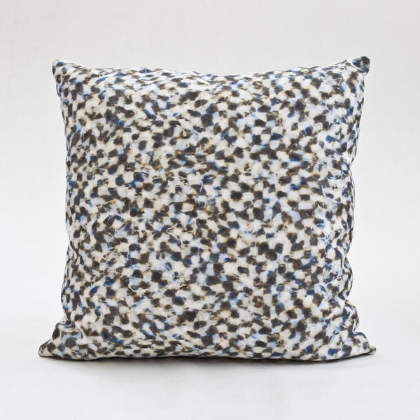 "Carley Kahn ""Checker"" pillow cover. Blue and tan colorway. Product shot of full 20 x 20"" pillow."