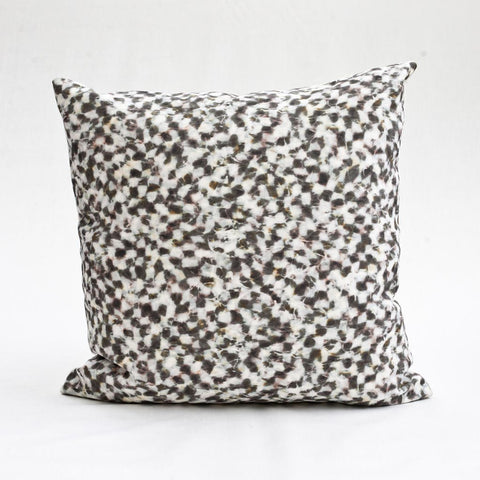 "Carley Kahn ""Checker"" pillow cover. Rose and gold colorway. Product shot of full 20 x 20"" pillow."