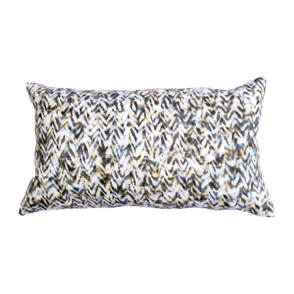 "CHEVRON PILLOW (12x20"") in Blue and Tan"