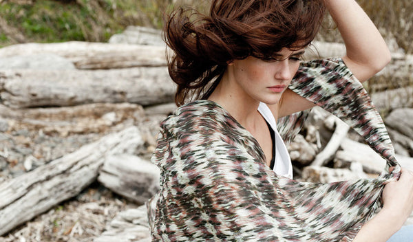 "Carley Kahn ""Wahkeena Falls"" silk scarf. Model wears scarf as it blows in wind, along with her hair."
