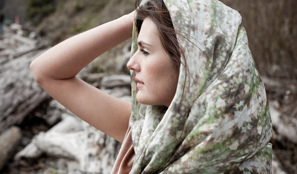 "Carley Kahn ""Kauri Coast"" silk scarf. Profile of model wearing scarf."