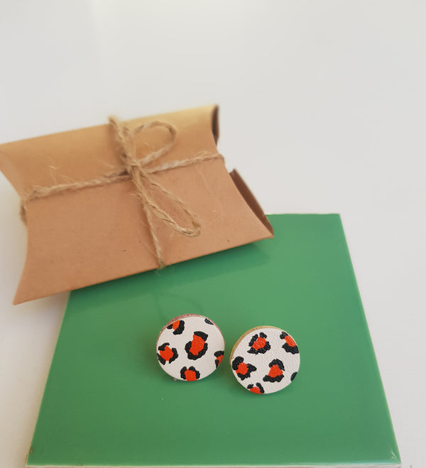 Orange Leopard Print Earrings