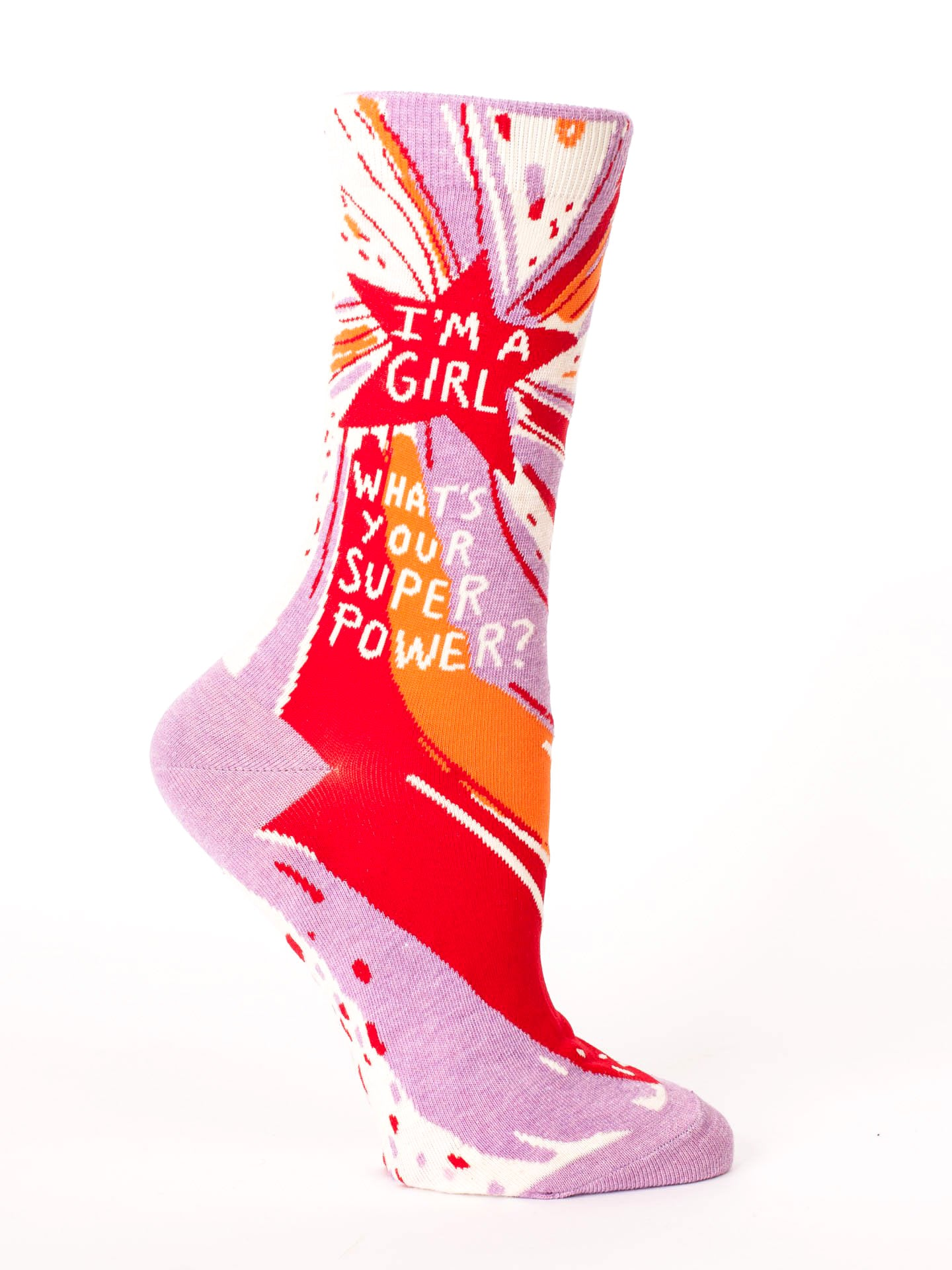 Blue Q - Crew Socks - I'm a Girl. What's Your Superpower