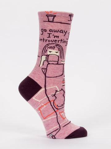 Blue Q - Crew Socks - Go Away, I'm Introverting