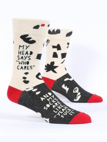 Blue Q - Men's Socks - Head Says Who Cares