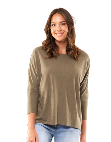 Foxwood Sara Long Sleeve Top - Khaki
