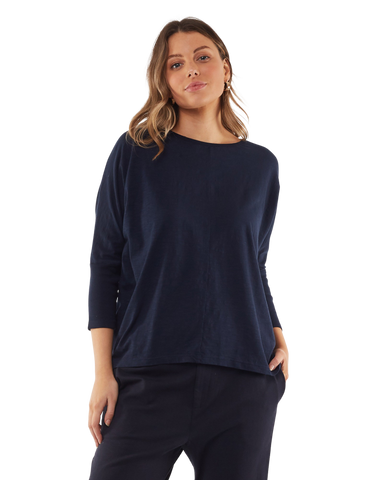 Foxwood Sara Long Sleeve Top - Navy