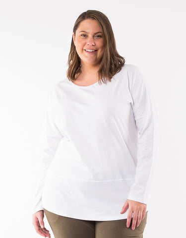 Elm Embrace - Fundamental Rib Long Sleeve Tee - White