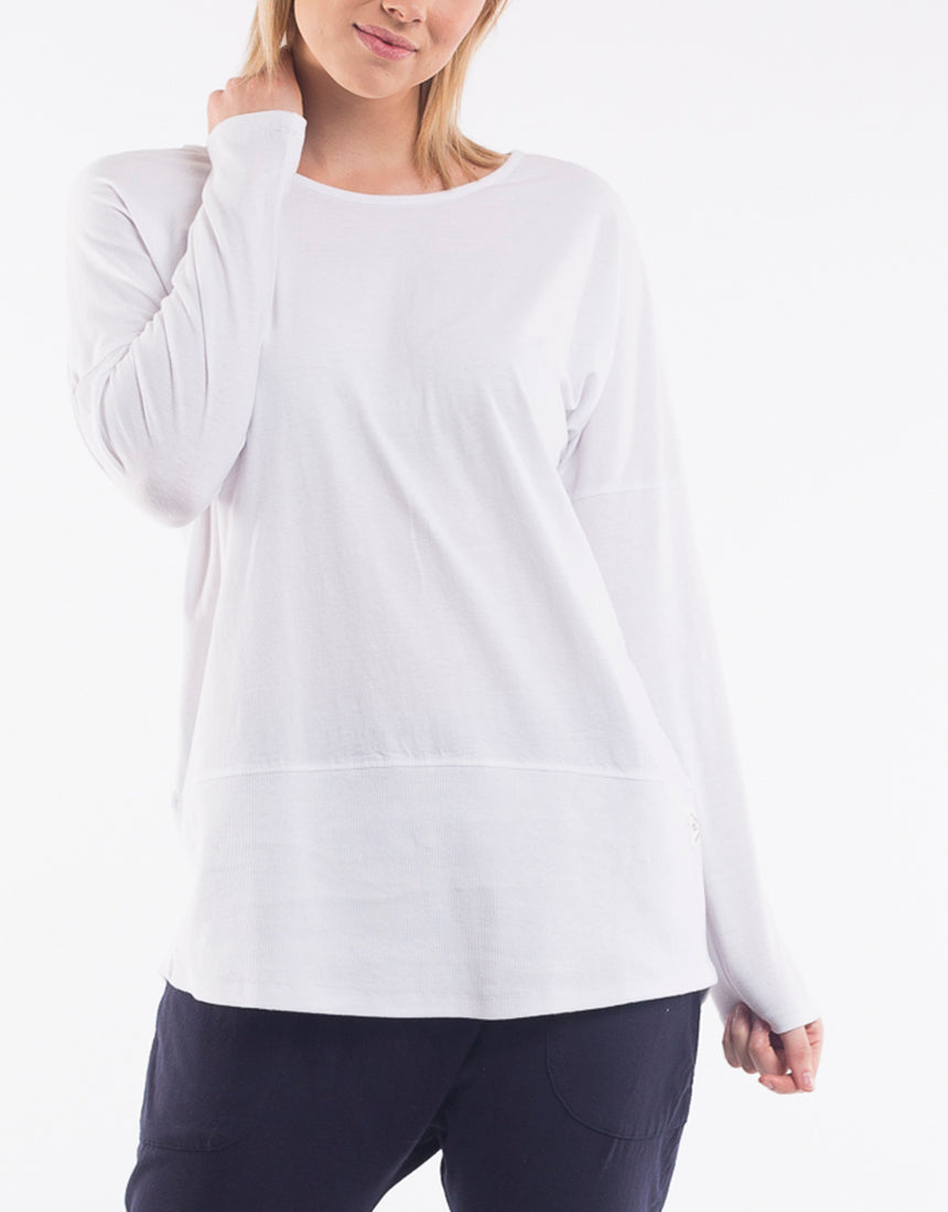 Elm - Fundamental Rib Long Sleeve Tee - White