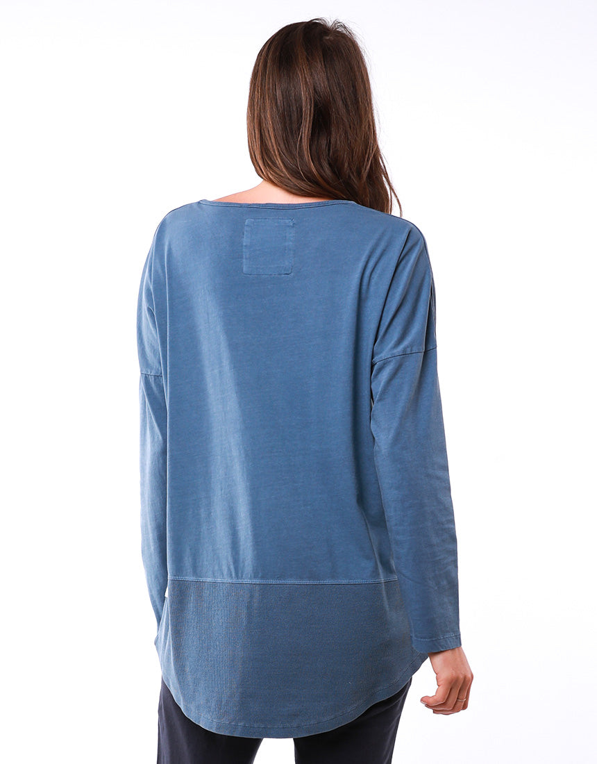 Elm - Fundamental Rib Long Sleeve Tee - Steel Blue