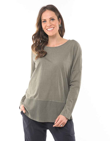 Elm - Fundamental Rib Long Sleeve Tee - Washed Khaki