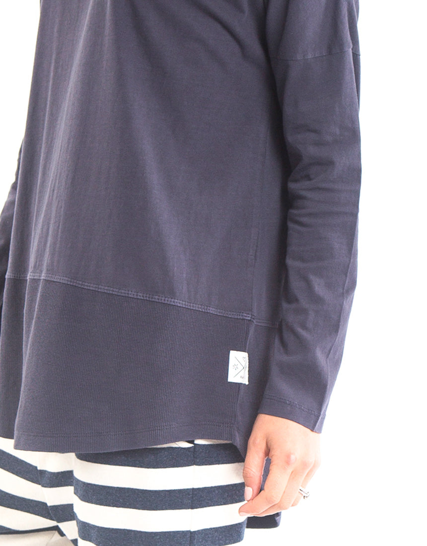 Elm - Fundamental Rib Long Sleeve Tee - Navy