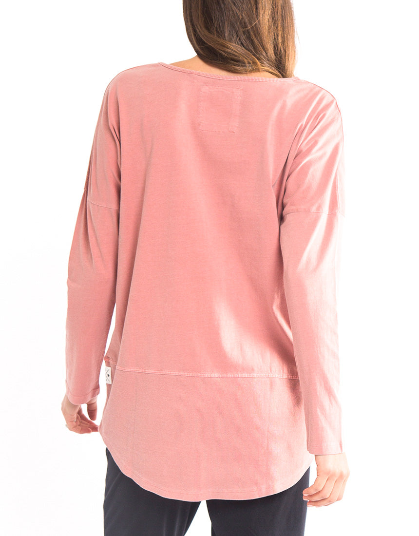 Elm - Fundamental Rib Long Sleeve Tee - Pink
