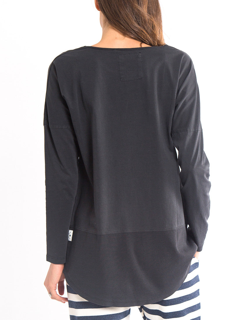 Elm - Fundamental Rib Long Sleeve Tee - Washed Black