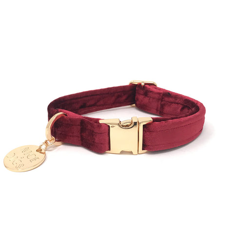 Nice Digs - Velvet Dog Collar - Crimson