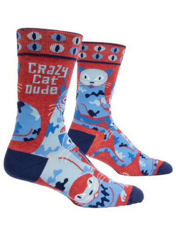 Blue Q - Men's Socks - Crazy Cat Dude