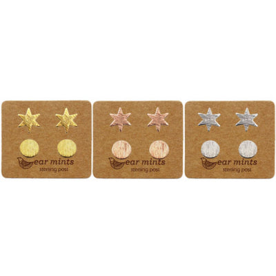 Ear Mints - Brushed Star and Circle Duo