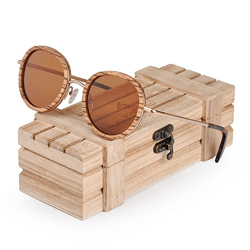 Oval Wooden Sunglasses with polarized UV400, includes wooden gift box