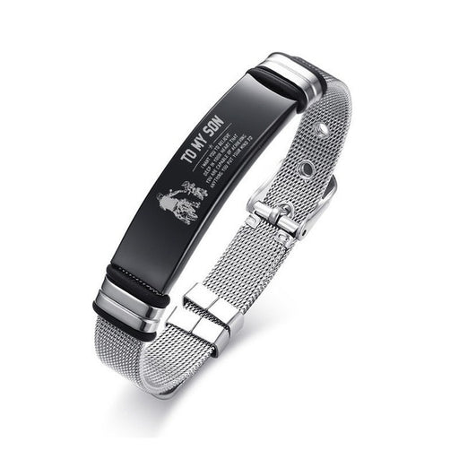Personalized sliding mesh bracelet for men, engrave your name and personalized silver message, Stainless steel