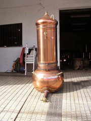 Column in place atop the pot in the copper alembic distiiler