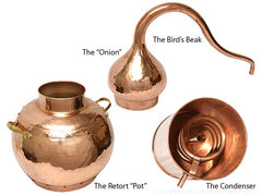 Parts of the copper alembic distiller
