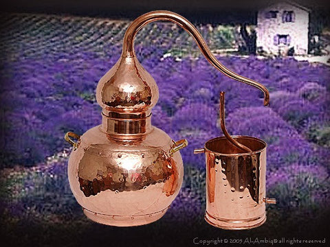 Copper Alembic with Lavender field