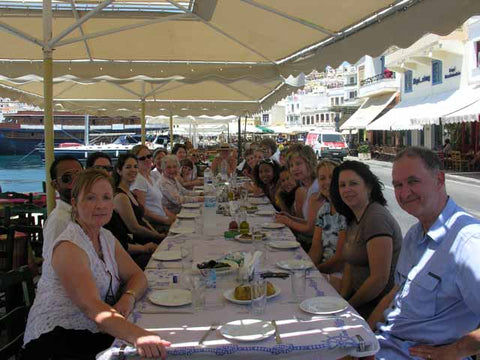 enjoying ameal in Hermoupolis overlooking the port