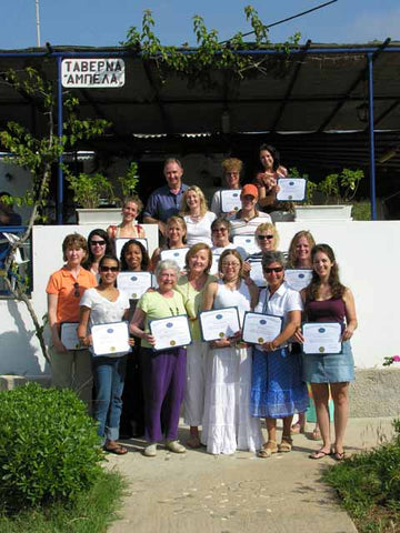 Happy students receive their certificates at the Taverna in Abela