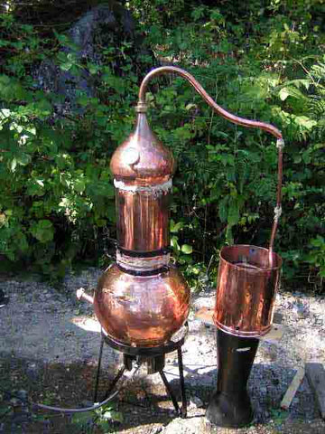 40 liter copper alembic distiller with the column in the up position