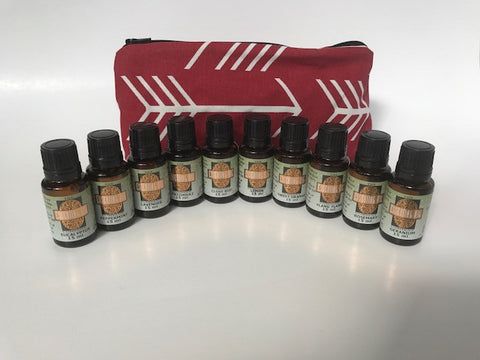 Large Essential Oil Kit (Red) 10 - 15ml Bottles