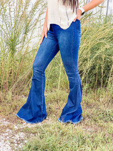 Star Of The Show Flares - Dark Denim