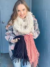 Load image into Gallery viewer, Lattice Tassel Infinity Scarf - Black