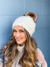Load image into Gallery viewer, Chunky Pom Beanie -Ivory