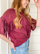 Load image into Gallery viewer, Cross My Heart Fringe Tee