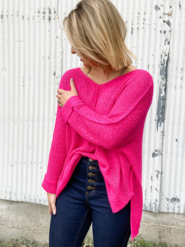 Merry Me Sweater - Hot Pink