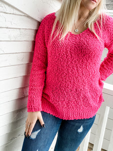 Popcorn Sweater - Hot Pink