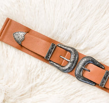 Load image into Gallery viewer, On The Plains - Double Buckle Belt - Camel