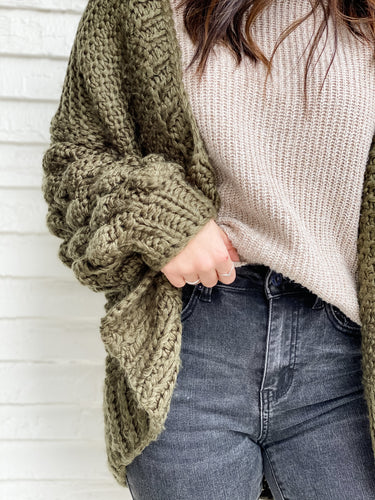 Knobby Cable Cardi - Olive