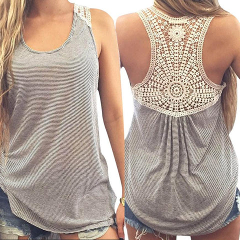 Summer Ladies Stylish Vest Back Lace Patchwork Casual Sleeveless O-Neck Tops