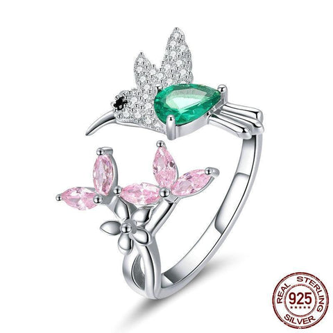 100% 925 Sterling Silver Adjustable Hummingbird Gift Luminous Clear CZ Finger Rings for Women Silver Jewelry BSR016