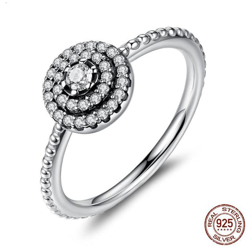 925 Sterling Silver Round Shape Radiant Elegance, Clear CZ Flower Finger Rings for Women ANNIVERSARY SALE 2018 PA7178