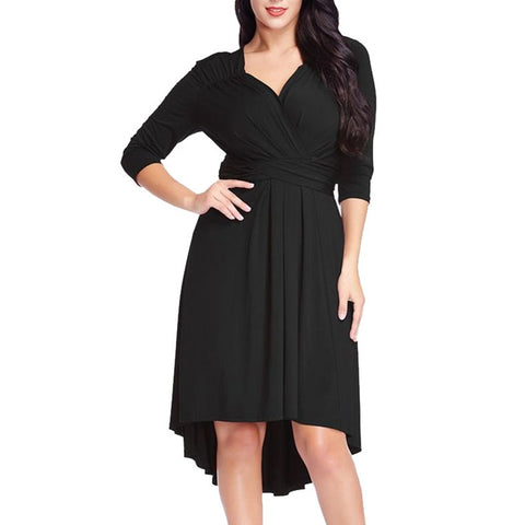 Plus Size Womens Casual Fashion 3/4 Sleeve Cross V Neck Solid Dress