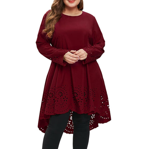 Women Fashion O-Neck Long Sleeve Plus Size Laser Cut High Low Hollow Out Dress